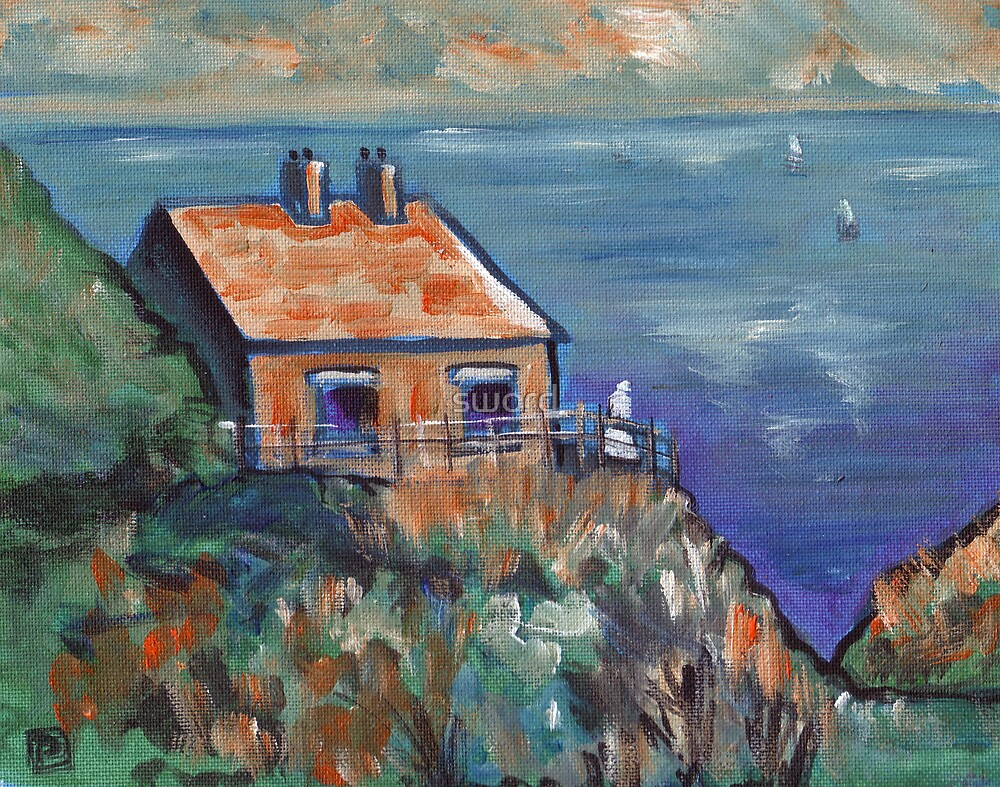 (The coastguards cottage( from my original acrylic painting) by sword
