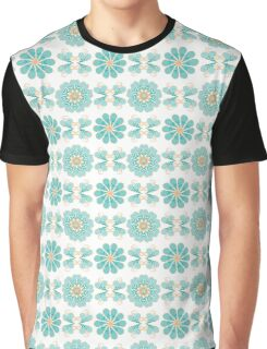 Abstract pattern with blue and yellow helix and flowers Graphic T-Shirt