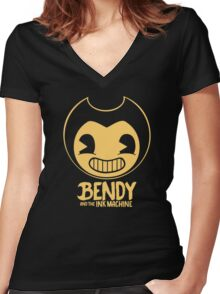 Bendy and the Ink Machine Women's Fitted V-Neck T-Shirt