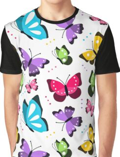 Colorful Pattern With Flat Futterflies Flying Graphic T-Shirt