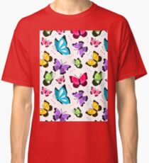 Colorful Pattern With Flat Futterflies Flying Classic T-Shirt
