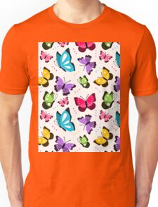Colorful Pattern With Flat Futterflies Flying Unisex T-Shirt