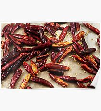 Dried red chilis on a rustic background Poster