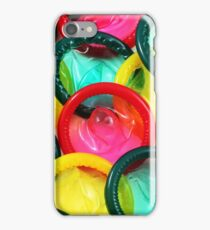 A close up image of a multitude of colored condoms iPhone Case/Skin
