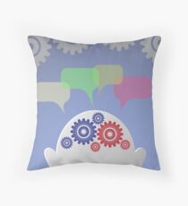 businessman and speech bubble Throw Pillow