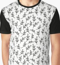 Simple hand drawn outline pattern. Seamless leaf background. Vector illustration. Graphic T-Shirt
