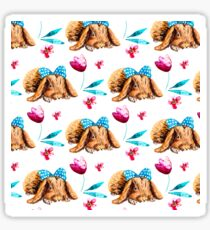 Bunny Pattern With Bow Watercolor Flowers Sticker