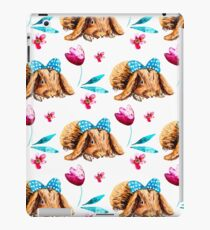 Bunny Pattern With Bow Watercolor Flowers iPad Case/Skin