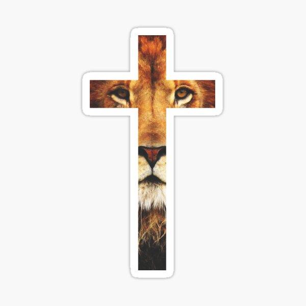 donde Jesús es exaltado por uno de los ancianos que dicen acerca de Él: El león de la tribu de Judá. Pegatina