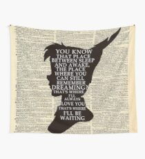 Peter Pan Over Vintage Dictionary Page - That Place Wall Tapestry