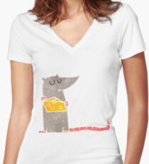 retro cartoon mouse with cheese Women's Fitted V-Neck T-Shirt