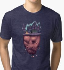 Floating Island with Aurora Borealis Tri-blend T-Shirt