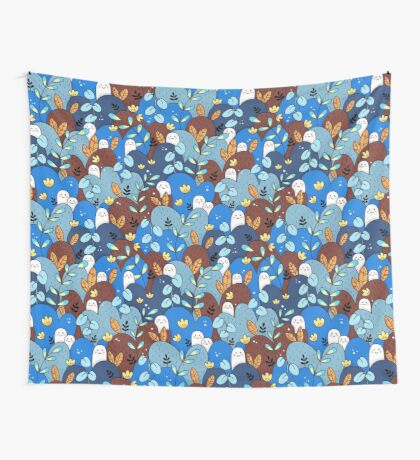 buddy pattern blue + brown Wall Tapestry