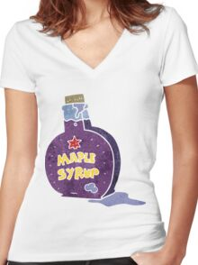 retro cartoon maple syrup bottle Women's Fitted V-Neck T-Shirt