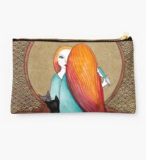 Art Deco Girl and Cat Studio Pouch
