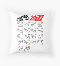 MotoGp 2017 schedule all circuits white Throw Pillow