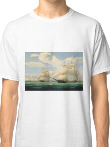 Fitz Henry Lane - The Ships Winged Arrow And Southern Cross In Boston Harbor 1853 Classic T-Shirt