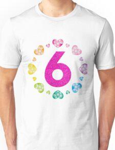6th Birthday For Girls Shiny Hearts Princess Six Unisex T-Shirt