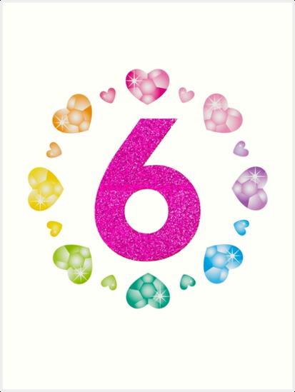 6 Geburtstag Für Mädchen Shiny Hearts Prinzessin Six Kunstdrucke