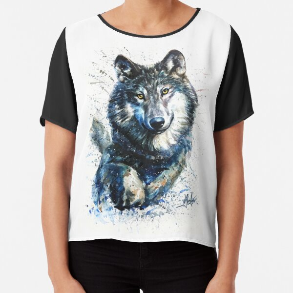 Wolf watercolor  Chiffon Top