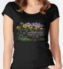 Sunflowers Abound- Rain Women's Fitted Scoop T-Shirt