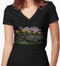 Sunflowers Abound- Rain Women's Fitted V-Neck T-Shirt