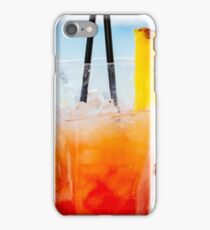 Fresh Red And Orange Cocktail Glass In Summer With Ocean Background iPhone Case/Skin