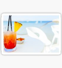 Fresh Red And Orange Cocktail Glass In Summer With Ocean Background Sticker