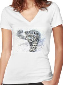 Snow leopard watercolor Women's Fitted V-Neck T-Shirt