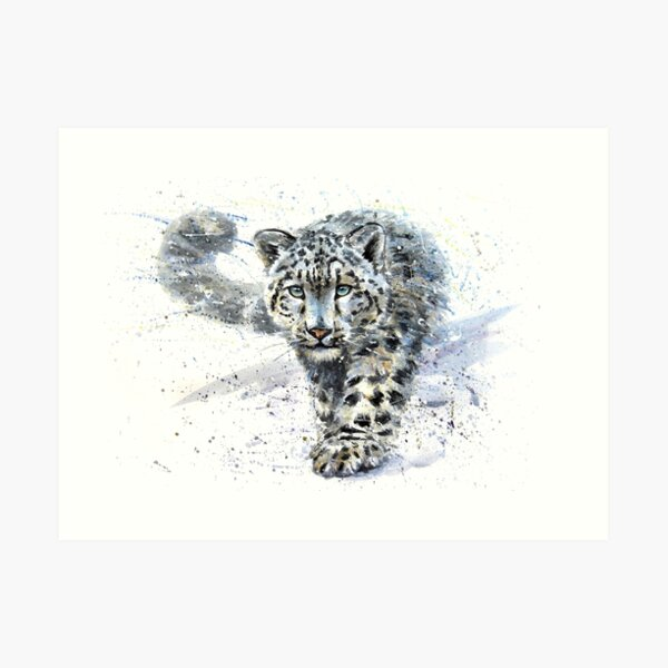 Snow leopard watercolor Art Print