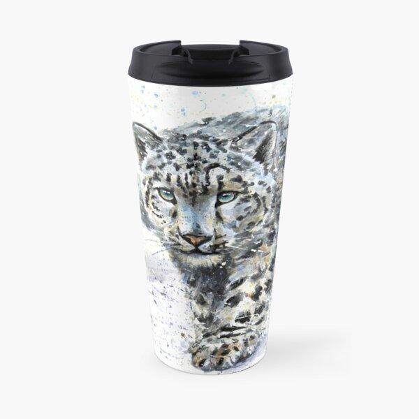 Snow leopard watercolor Travel Mug