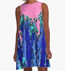 Cartoon Summer Cacti In The Pink  A-Line Dress