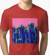 Cartoon Summer Cacti In The Pink  Tri-blend T-Shirt