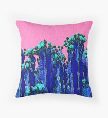 Cartoon Summer Cacti In The Pink  Throw Pillow