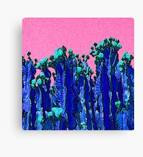 Cartoon Summer Cacti In The Pink  Canvas Print