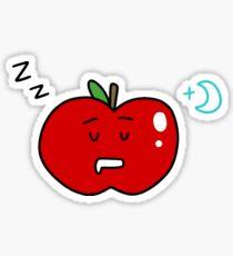 Sleepy Red Apple Sticker