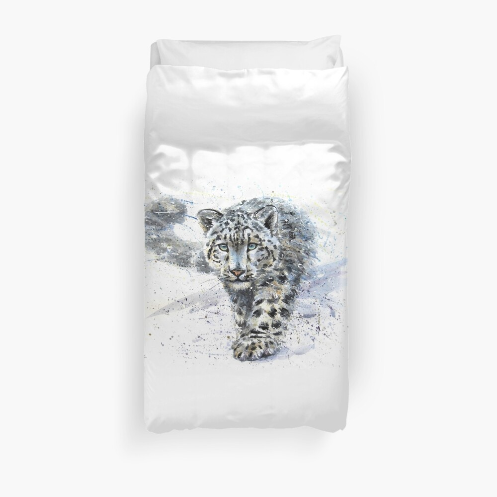 Snow leopard watercolor Duvet Cover