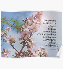 Serenity Prayer Blossoms Sky Tree Poster