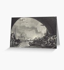 Escaping The Great Fire of London 1666 Greeting Card
