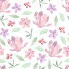 Pretty spring pink and purple flower pattern watercolour design by Sandra O'Connor