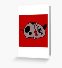 Spotted Bow Tie Piggy Greeting Card
