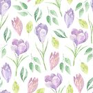 Pretty spring purple and pink flower pattern watercolour design by Sandra O'Connor