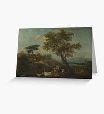 Francesco Zuccarelli - Landscape With Cattle And Figures Greeting Card