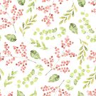 Little pink flower sprays and green leaves watercolour pattern by Sandra O'Connor