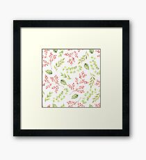 Little pink flower sprays and green leaves watercolour pattern Framed Print