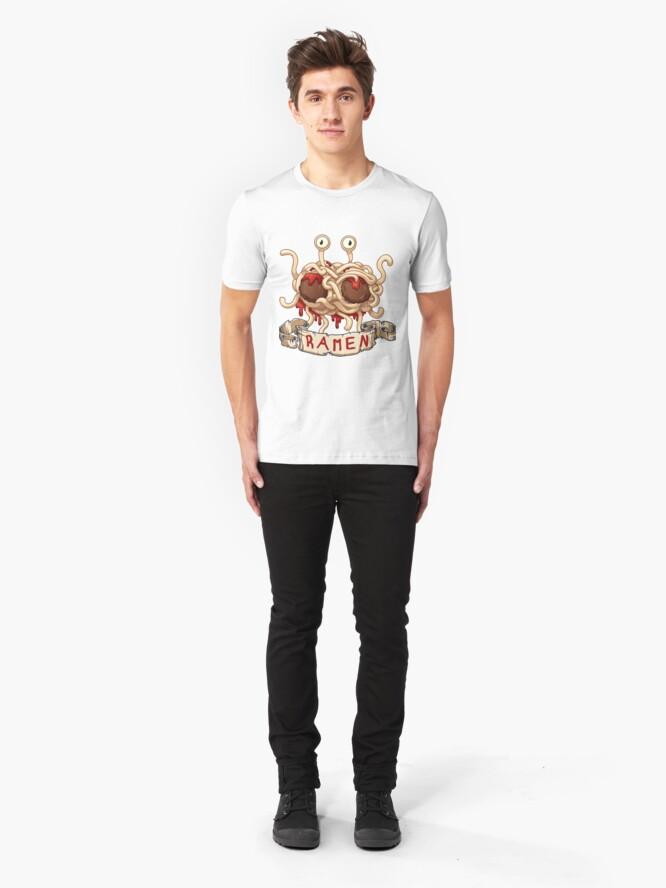 Alternate view of Ramen. Flying spaghetti monster church Slim Fit T-Shirt