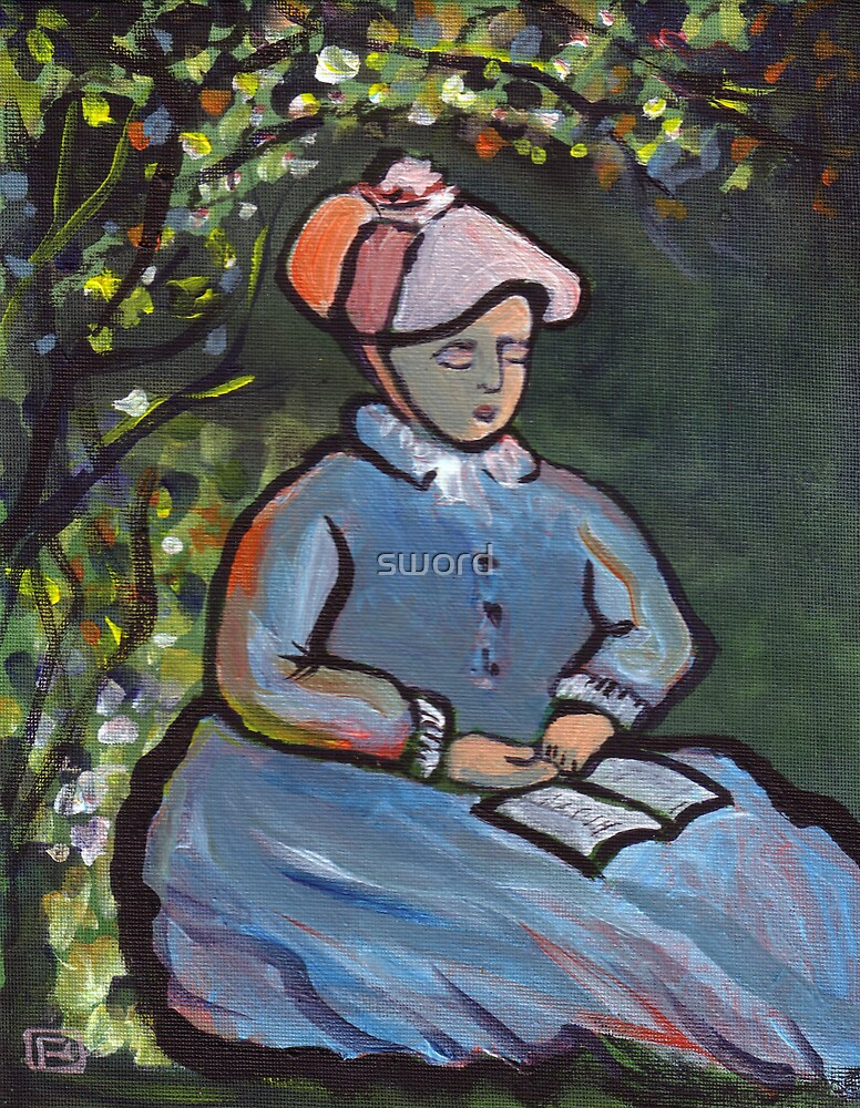A woman reading {from my original acrylic painting) by sword