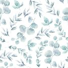 Cool little pastel grey blue flower and pale green plant leaves watercolour pattern by Sandra O'Connor
