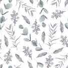 Cool little pastel grey purple flower and pale blue plant leaves watercolour pattern by Sandra O'Connor