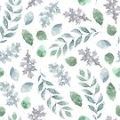 Cool little pastel grey, purple and pale blue green plant leaves watercolour pattern by Sandra O'Connor